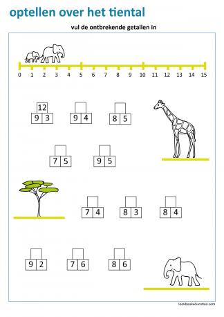 Werkblad_optellen_over_10_olifant