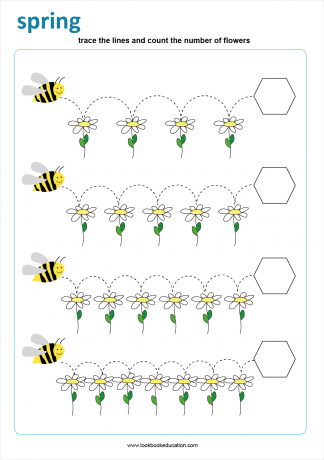 Worksheet Tracing Counting Bees Spring