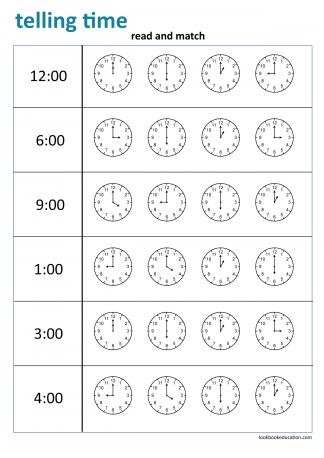 Worksheet_telling_time_matching2